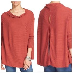 Free People orange ribbed thermal size small
